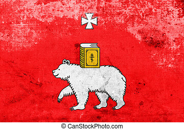 Flag of Perm, Russia, with a vintage and old look
