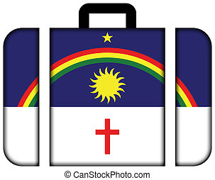 Flag of Pernambuco State, Brazil. Suitcase icon, travel and transportation concept