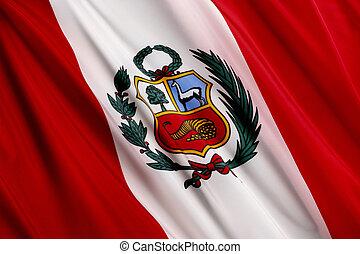 Flag of Peru - Close up shot of wavy Peruvian flag