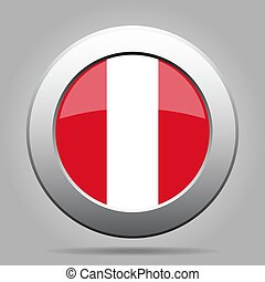 Flag of Peru. Metal gray round button.