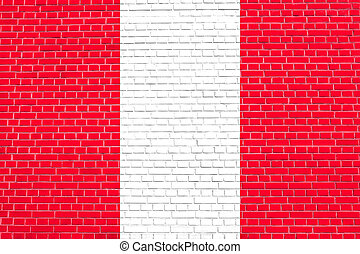 Flag of Peru on brick wall texture background