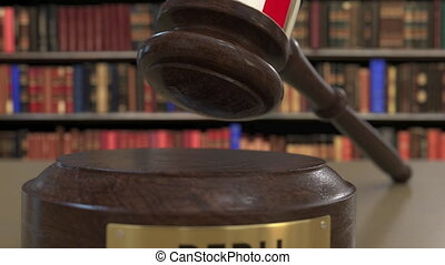 Flag of Peru on falling judges gavel in court. National...