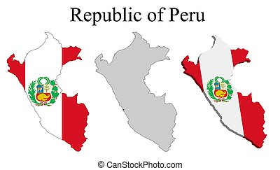Flag of Peru on map and map with regional division