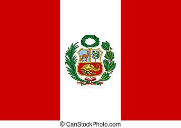 Flag of Peru - Peruvian flag with National Emblem