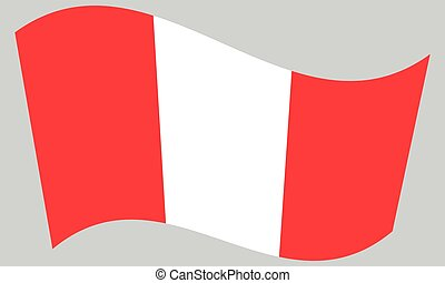 Flag of Peru waving on gray background