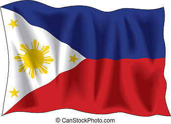 Flag of Philippines - Waving flag of Philippines isolated on...
