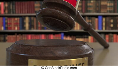Flag of Philippines on falling judges gavel in court....