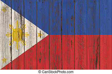 Flag of Philippines painted on wooden frame