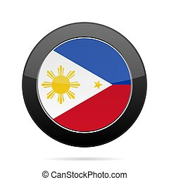Flag of Philippines. Shiny black round button.