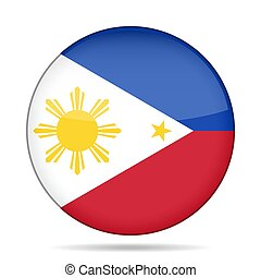 Flag of Philippines. Shiny round button.