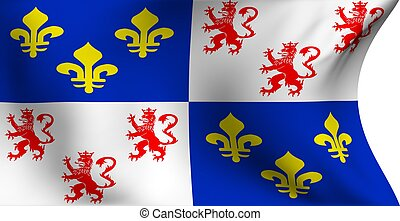 Flag of Picardie, France against white background. Close up.