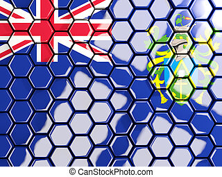 Flag of pitcairn islands, hexagon mosaic background