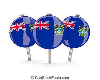 Flag of pitcairn islands, round pins