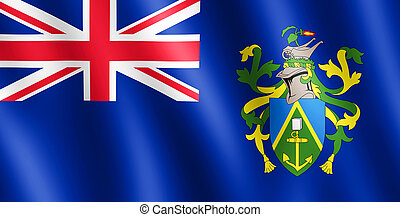 Flag of Pitcairn Islands waving in the wind