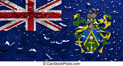 flag of Pitcairn Islands with rain drops