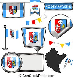 Glossy icons with flag of Podkarpackie province, Poland country. Vector image