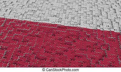 Flag of Poland being made with jigsaw puzzle pieces. Polish problem solution conceptual 3D rendering