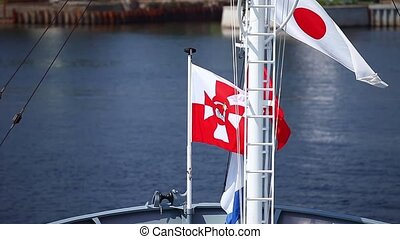 Flag of Poland Navy on  warship