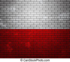 Flag of Poland on Brick Wall