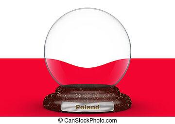 Flag of Poland on snow globe