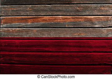 Flag of Poland on wood