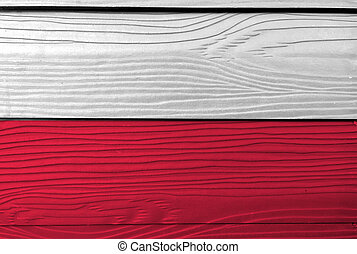Flag of Poland on wooden wall background. Grunge Polish flag texture, A horizontal two color of white and red.