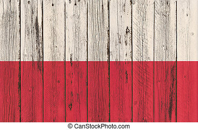 Flag of Poland painted on wooden frame
