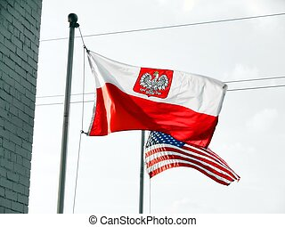 Flag of Poland / Polish and US flag - Flag of Poland /...