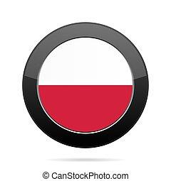 Flag of Poland. Shiny black round button.
