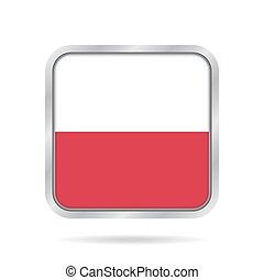 Flag of Poland. Shiny metallic gray square button.