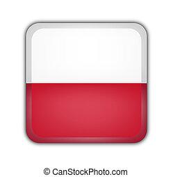 flag of poland, square button on white background