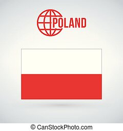 Flag of Poland vector illustration isolated on modern background with shadow.
