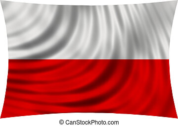 Flag of Poland waving in wind isolated on white