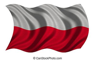 Flag of Poland wavy on white, fabric texture