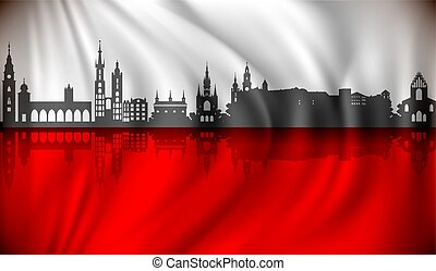 Flag of Poland with Krakow skyline