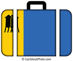 Flag of Porto Velho, Rondonia, Brazil. Suitcase icon, travel and transportation concept
