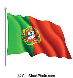 Detailed vector illustration of flag of Portugal