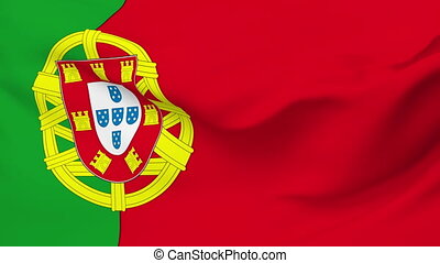 Flag of Portugal - Flag of the Portugal waving in the wind....