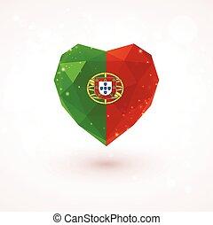 Flag of Portugal in shape diamond glass heart. Triangulation...