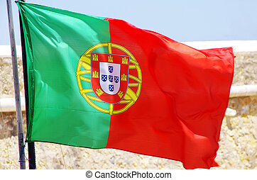 Flag of Portugal in the wind