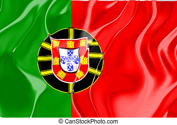 Flag of Portugal, national country symbol illustration