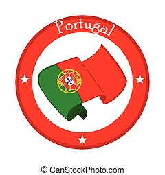Flag of portugal on a label