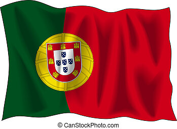 Flag of Portugal - Waving flag of Portugal isolated on white