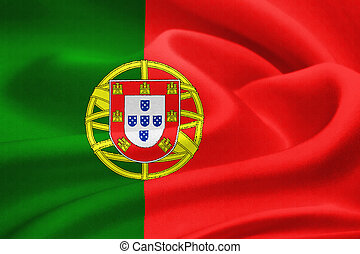 Flag of Portugal waving in the wind. Silk texture pattern