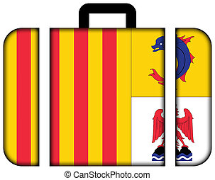 Flag of Provence Alpes Cote d'Azur, France. Suitcase icon, travel and transportation concept