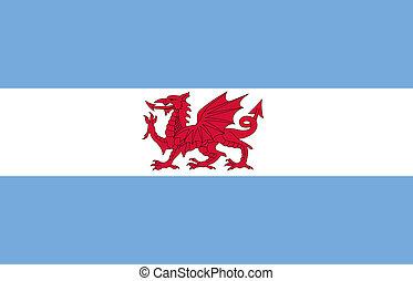 Flag of Puerto Madryn. Argentina. Isolated on white background