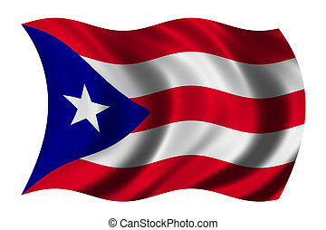 Flag of Puerto Rico waving in the wind - clipping path...