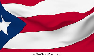 Flag of the Puerto Rico waving in the wind. Seamless loop