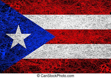 Flag of Puerto Rico. Illustration in grunge style.