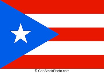 Flag of Puerto Rico in Caribbean sea
